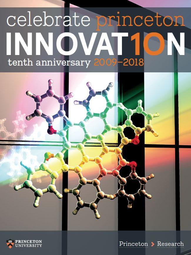 Brochure cover featuring a molecule in front of a window